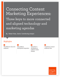 "Free whitepaper cover page titled ""Connecting Content Marketing Experiences""."